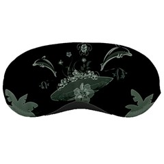 Surfboard With Dolphin, Flowers, Palm And Turtle Sleeping Masks by FantasyWorld7