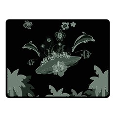 Surfboard With Dolphin, Flowers, Palm And Turtle Fleece Blanket (small) by FantasyWorld7