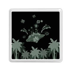 Surfboard With Dolphin, Flowers, Palm And Turtle Memory Card Reader (square)  by FantasyWorld7