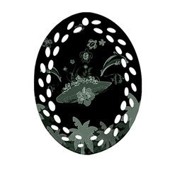 Surfboard With Dolphin, Flowers, Palm And Turtle Oval Filigree Ornament (two Sides) by FantasyWorld7