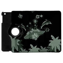 Surfboard With Dolphin, Flowers, Palm And Turtle Apple Ipad Mini Flip 360 Case by FantasyWorld7