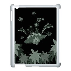 Surfboard With Dolphin, Flowers, Palm And Turtle Apple Ipad 3/4 Case (white) by FantasyWorld7