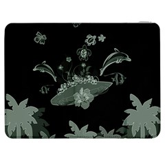 Surfboard With Dolphin, Flowers, Palm And Turtle Samsung Galaxy Tab 7  P1000 Flip Case by FantasyWorld7