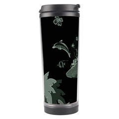 Surfboard With Dolphin, Flowers, Palm And Turtle Travel Tumbler by FantasyWorld7