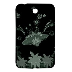 Surfboard With Dolphin, Flowers, Palm And Turtle Samsung Galaxy Tab 3 (7 ) P3200 Hardshell Case  by FantasyWorld7