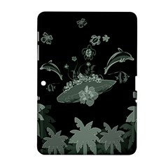 Surfboard With Dolphin, Flowers, Palm And Turtle Samsung Galaxy Tab 2 (10 1 ) P5100 Hardshell Case  by FantasyWorld7
