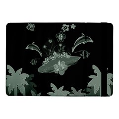 Surfboard With Dolphin, Flowers, Palm And Turtle Samsung Galaxy Tab Pro 10 1  Flip Case by FantasyWorld7