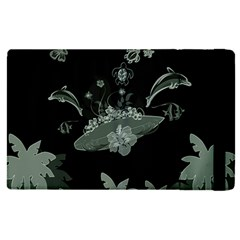 Surfboard With Dolphin, Flowers, Palm And Turtle Apple Ipad Pro 9 7   Flip Case by FantasyWorld7