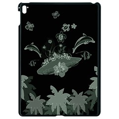 Surfboard With Dolphin, Flowers, Palm And Turtle Apple Ipad Pro 9 7   Black Seamless Case by FantasyWorld7