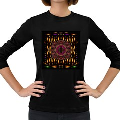 A Flaming Star Is Born On The  Metal Sky Women s Long Sleeve Dark T Shirts by pepitasart