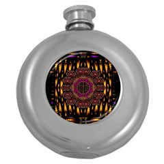 A Flaming Star Is Born On The  Metal Sky Round Hip Flask (5 Oz) by pepitasart