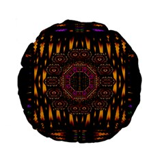 A Flaming Star Is Born On The  Metal Sky Standard 15  Premium Flano Round Cushions by pepitasart