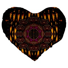 A Flaming Star Is Born On The  Metal Sky Large 19  Premium Flano Heart Shape Cushions by pepitasart