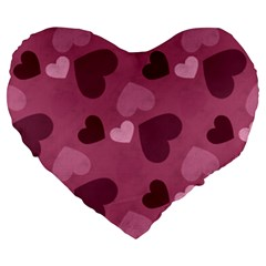 Mauve Valentine Heart Pattern Large 19  Premium Heart Shape Cushions by allthingseveryday
