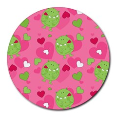 Monster Love Pattern Round Mousepads by allthingseveryday