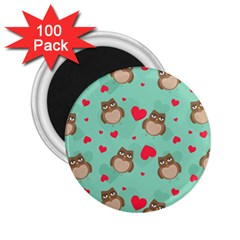 Owl Valentine s Day Pattern 2 25  Magnets (100 Pack)  by allthingseveryday