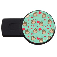 Owl Valentine s Day Pattern Usb Flash Drive Round (4 Gb)