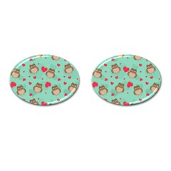 Owl Valentine s Day Pattern Cufflinks (oval) by allthingseveryday