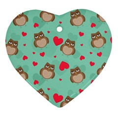 Owl Valentine s Day Pattern Heart Ornament (two Sides) by allthingseveryday