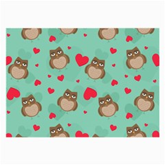 Owl Valentine s Day Pattern Large Glasses Cloth (2 Side) by allthingseveryday