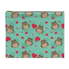 Owl Valentine s Day Pattern Cosmetic Bag (xl) by allthingseveryday