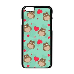 Owl Valentine s Day Pattern Apple Iphone 6/6s Black Enamel Case by allthingseveryday