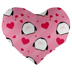Penguin Love Pattern Large 19  Premium Flano Heart Shape Cushions by allthingseveryday