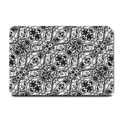 Black And White Ornate Pattern Small Doormat  by dflcprints