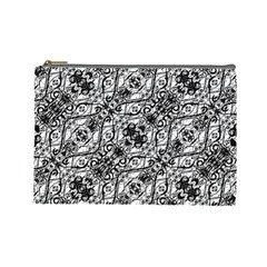 Black And White Ornate Pattern Cosmetic Bag (large)  by dflcprints