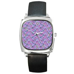 Sacred Geometry Pattern 2 Square Metal Watch by Cveti