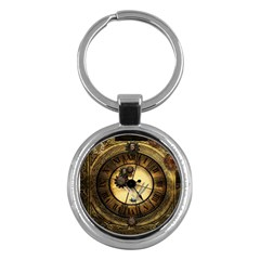 Wonderful Steampunk Desisgn, Clocks And Gears Key Chains (round)  by FantasyWorld7