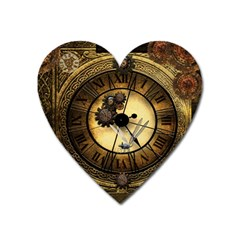 Wonderful Steampunk Desisgn, Clocks And Gears Heart Magnet by FantasyWorld7