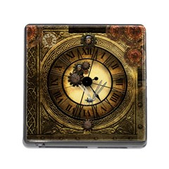 Wonderful Steampunk Desisgn, Clocks And Gears Memory Card Reader (square) by FantasyWorld7