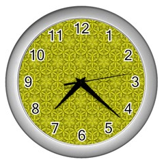 Flower Of Life Pattern Lemon Color  Wall Clocks (silver)  by Cveti