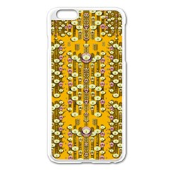 Rain Showers In The Rain Forest Of Bloom And Decorative Liana Apple Iphone 6 Plus/6s Plus Enamel White Case by pepitasart
