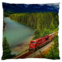 Canadian Railroad Freight Train Large Flano Cushion Case (one Side) by allthingseveryday