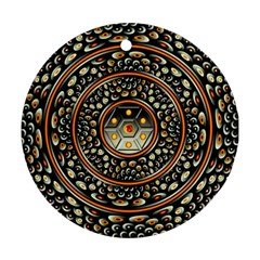 Dark Metal And Jewels Round Ornament (two Sides) by linceazul