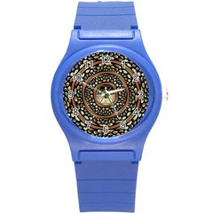 Dark Metal And Jewels Round Plastic Sport Watch (s) by linceazul