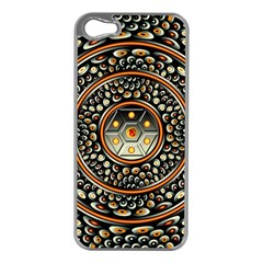Dark Metal And Jewels Apple Iphone 5 Case (silver) by linceazul
