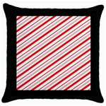 Candy Cane Stripes Throw Pillow Case (Black) Front