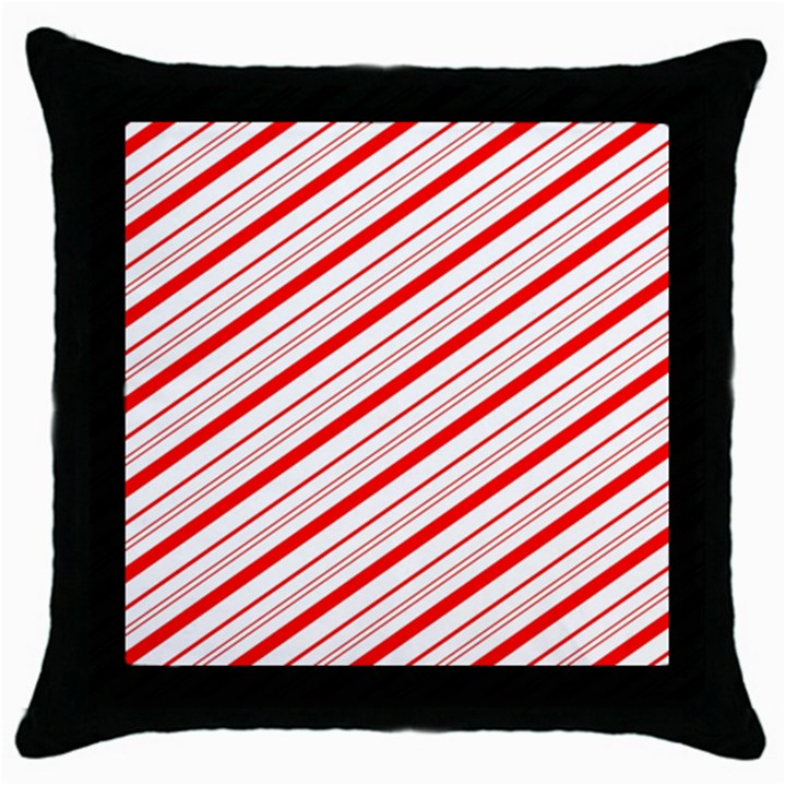 Candy Cane Stripes Throw Pillow Case (Black)
