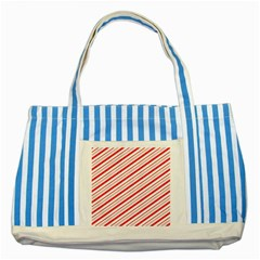 Candy Cane Stripes Striped Blue Tote Bag by jumpercat