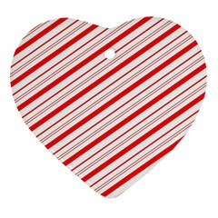 Candy Cane Stripes Heart Ornament (two Sides) by jumpercat