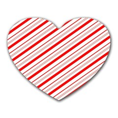 Candy Cane Stripes Heart Mousepads