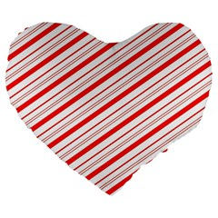 Candy Cane Stripes Large 19  Premium Heart Shape Cushions by jumpercat