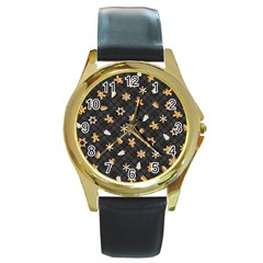 Gingerbread Dark Round Gold Metal Watch