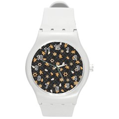 Gingerbread Dark Round Plastic Sport Watch (m)