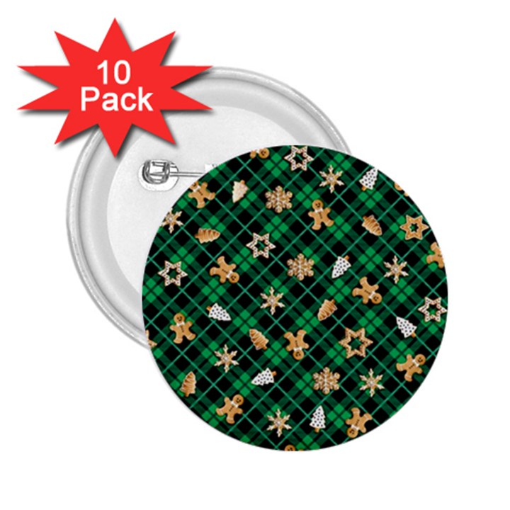 Gingerbread Green 2.25  Buttons (10 pack)