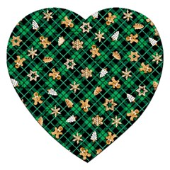 Gingerbread Green Jigsaw Puzzle (heart) by jumpercat