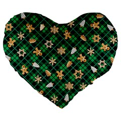 Gingerbread Green Large 19  Premium Heart Shape Cushions by jumpercat